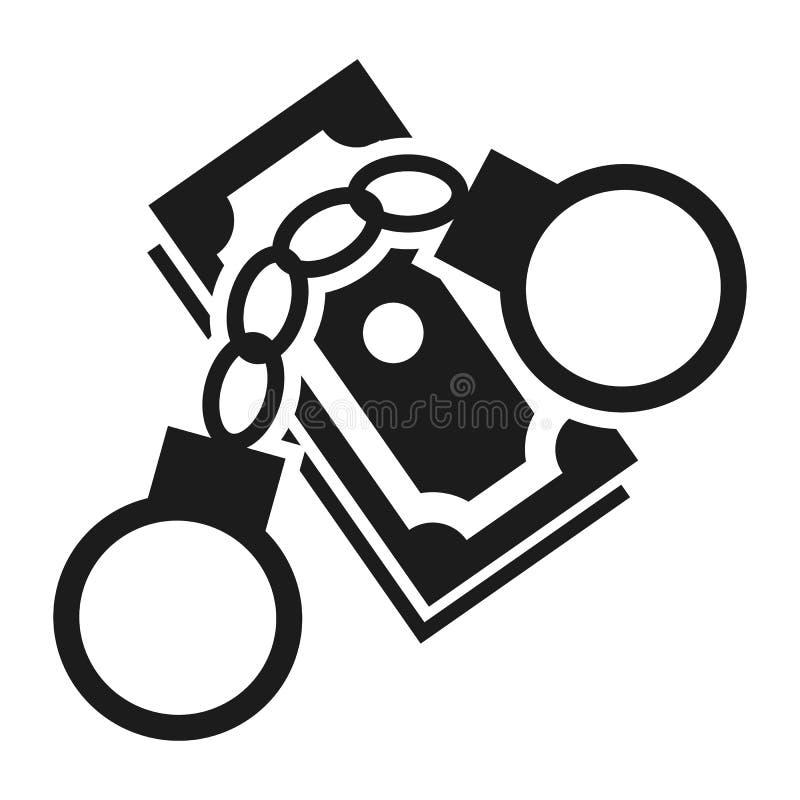 Icona delle manette dei soldi di corruzione, stile semplice illustrazione di stock