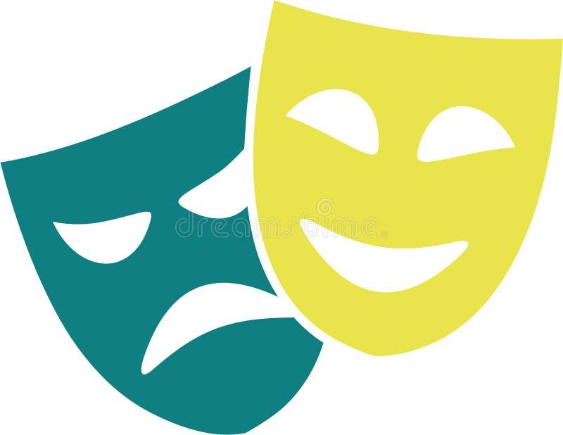 Icona delle maschere del teatro illustrazione di stock