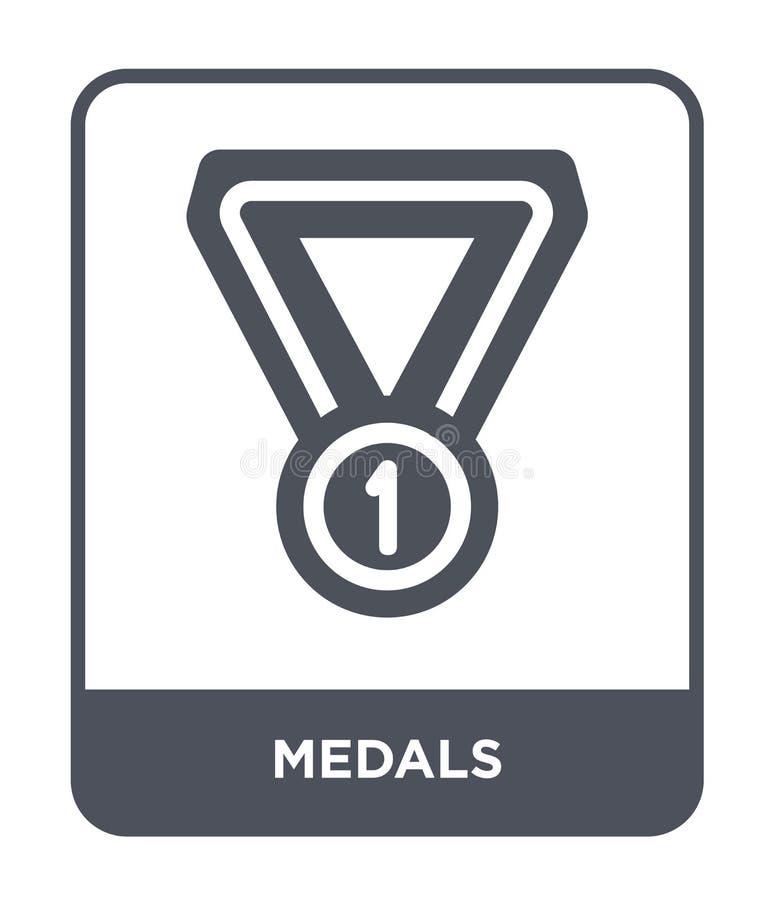 icona delle medaglie nello stile d'avanguardia di progettazione icona delle medaglie isolata su fondo bianco simbolo piano sempli illustrazione vettoriale