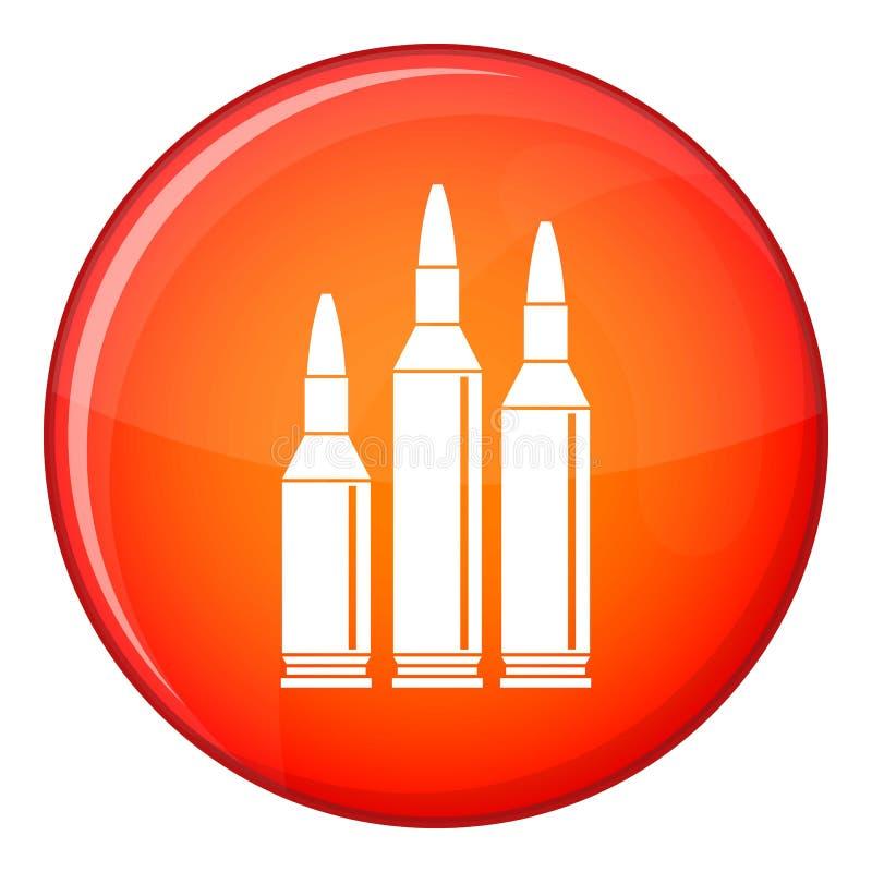 Icona delle munizioni della pallottola, stile piano illustrazione vettoriale