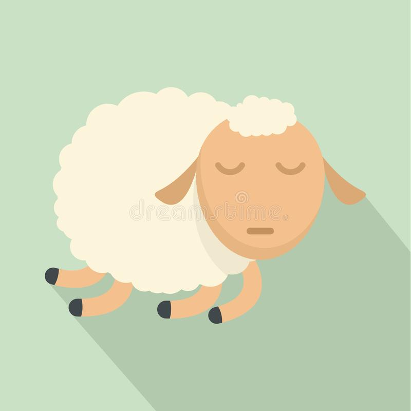Icona delle pecore di sonno, stile piano illustrazione di stock