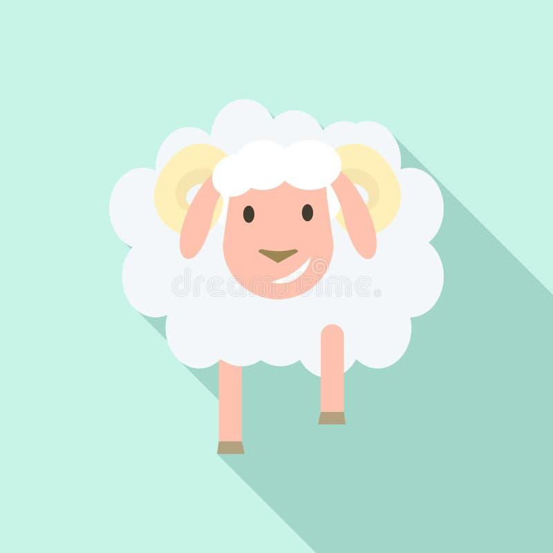 Icona delle pecore di sorriso, stile piano illustrazione di stock