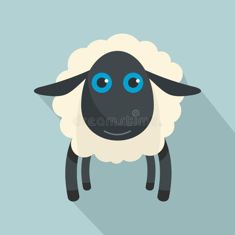 Icona delle pecore nere, stile piano illustrazione vettoriale