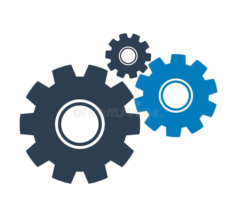Icona delle regolazioni con il simbolo dell'ingranaggio illustrazione di stock