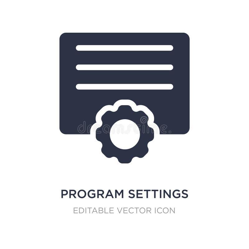 icona delle regolazioni di programma su fondo bianco Illustrazione semplice dell'elemento dal concetto degli utensili e degli str illustrazione vettoriale