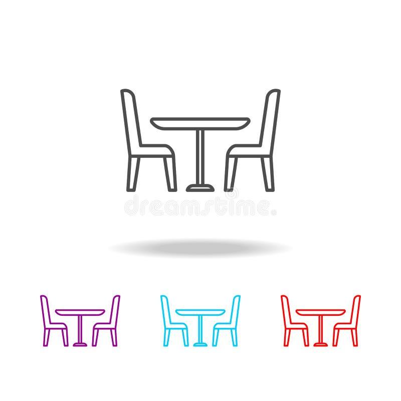 Icona delle sedie e della Tabella Elementi di mobilia nelle multi icone colorate Icona premio di progettazione grafica di qualità illustrazione vettoriale
