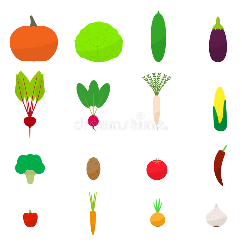 Icona delle verdure colorata piano stabilito di vettore fotografia stock