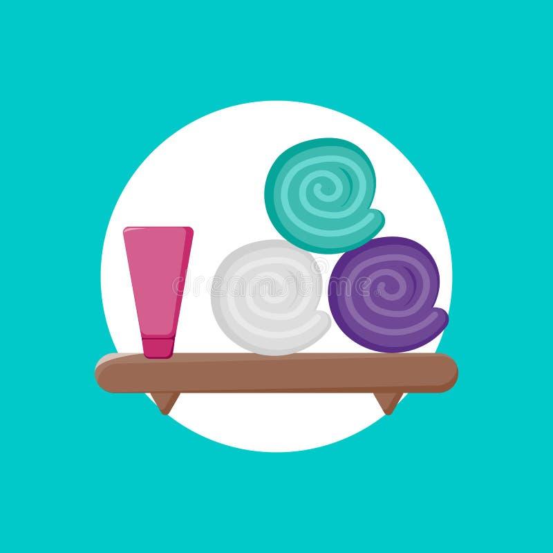 Icona dello scaffale con l'icona degli asciugamani e della crema illustrazione di stock
