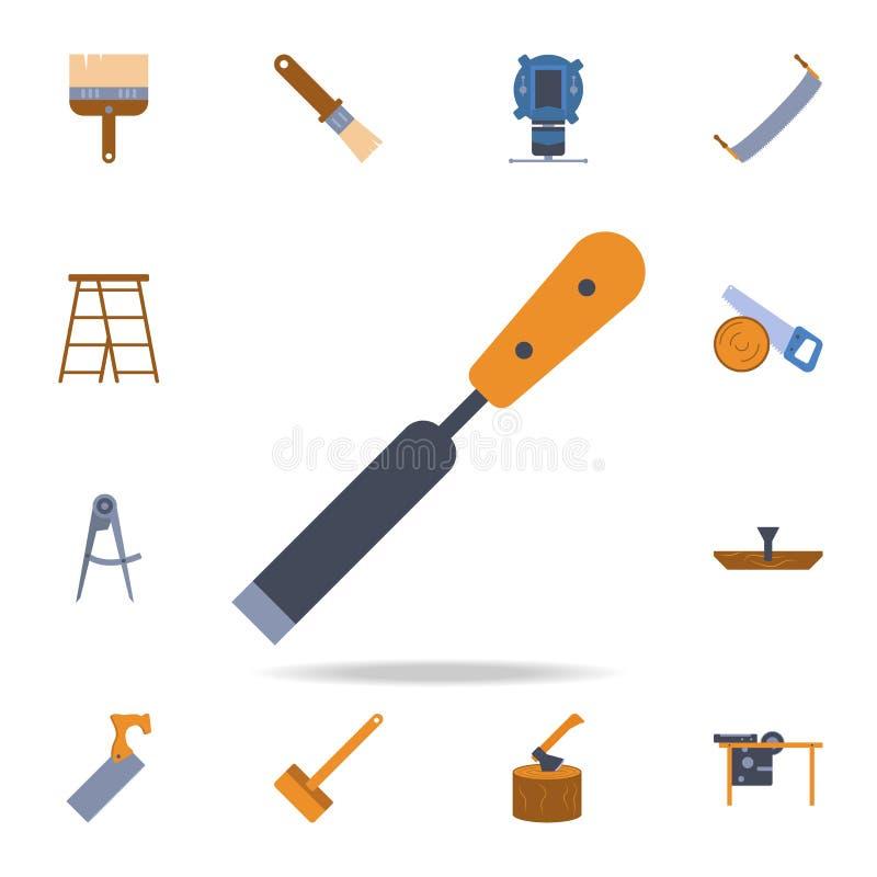 icona dello scalpello di colore Insieme dettagliato degli strumenti della costruzione di colore Progettazione grafica premio Una  illustrazione di stock