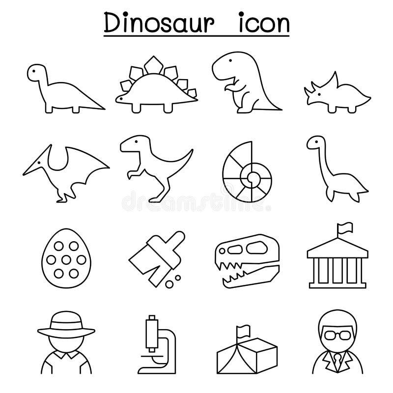 Icona dello scavo & del dinosauro nella linea stile sottile illustrazione di stock