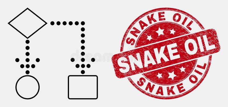 Icona dello schema a blocchi del colpo di vettore e bollo dell'olio di serpente di lerciume royalty illustrazione gratis