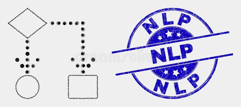 Icona dello schema a blocchi del pixel di vettore e filigrana graffiata di NLP royalty illustrazione gratis