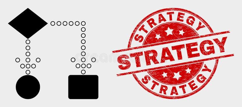Icona dello schema a blocchi di vettore e filigrana graffiata di strategia royalty illustrazione gratis