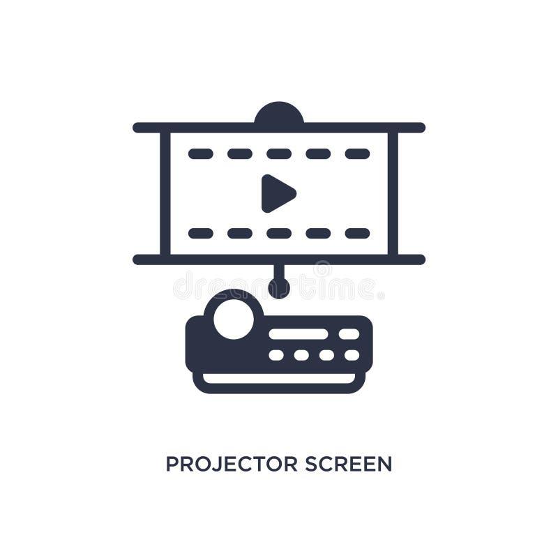 icona dello schermo del proiettore su fondo bianco Illustrazione semplice dell'elemento dal concetto del cinema illustrazione di stock