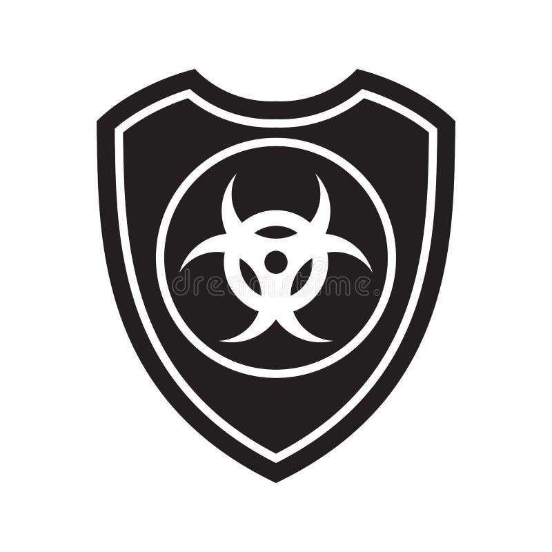 Icona dello schermo di rischio biologico Simbolo della difesa, di protezione o di sicurezza, segno illustrazione vettoriale