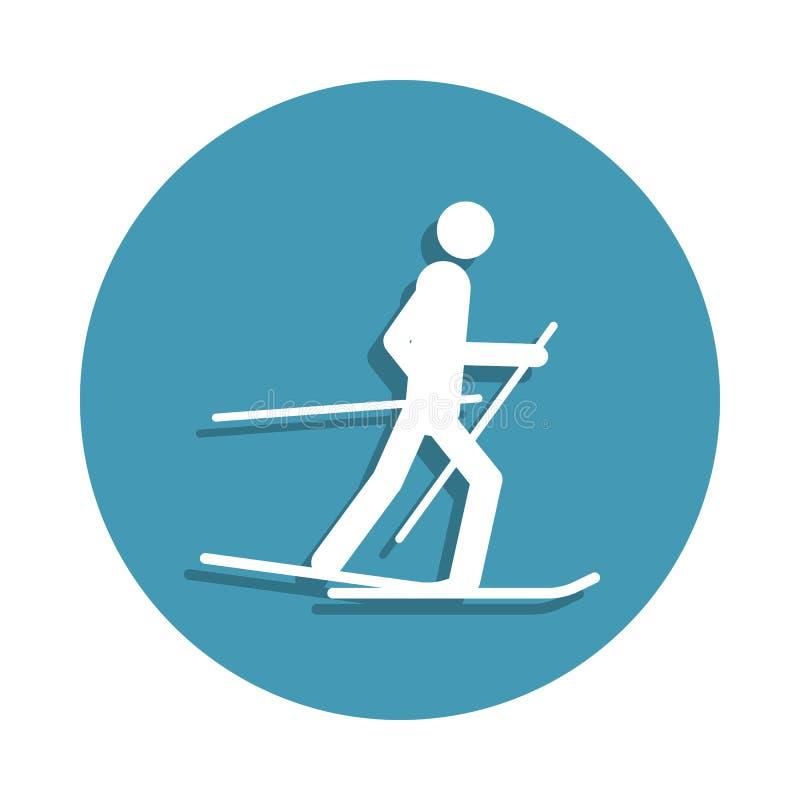 Icona dello sciatore della siluetta nello stile del distintivo Uno dell'icona della raccolta degli sport invernali può essere usa illustrazione di stock