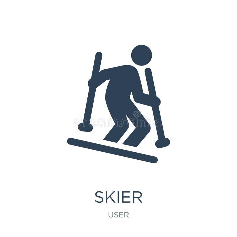 icona dello sciatore nello stile d'avanguardia di progettazione icona dello sciatore isolata su fondo bianco simbolo piano sempli royalty illustrazione gratis
