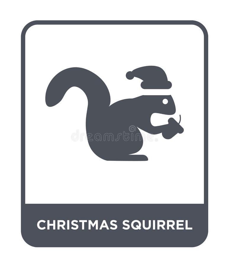 icona dello scoiattolo di natale nello stile d'avanguardia di progettazione icona dello scoiattolo di natale isolata su fondo bia royalty illustrazione gratis