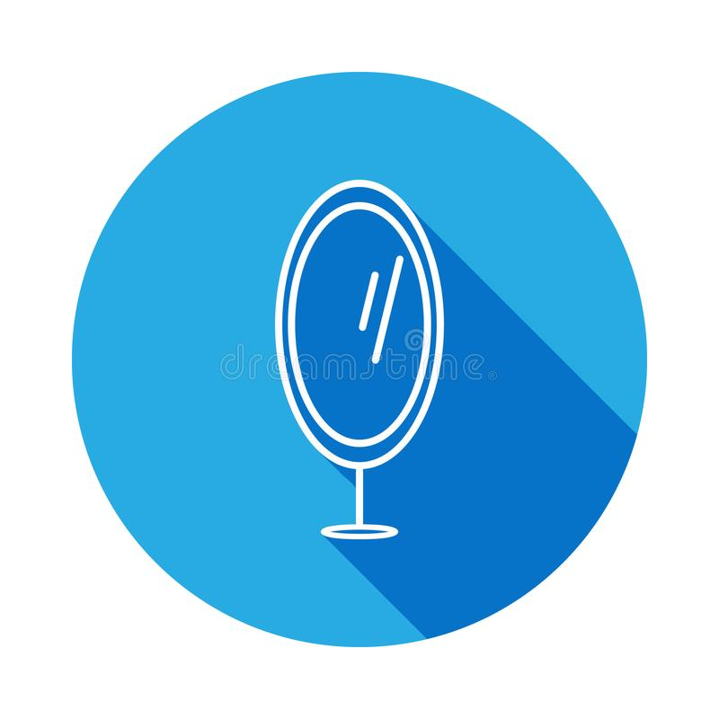 icona dello specchio del piede con ombra Elemento di mobilia per i apps mobili di web e di concetto La linea sottile icona per pr illustrazione di stock