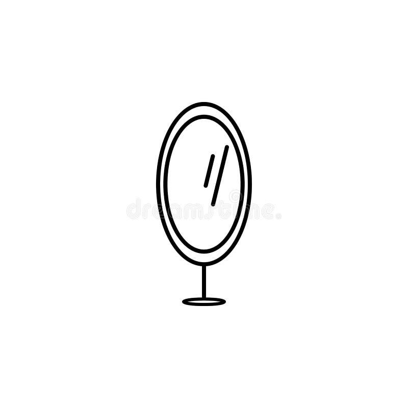 icona dello specchio del piede Elemento di mobilia per i apps mobili di web e di concetto Linea sottile icona per progettazione d illustrazione di stock