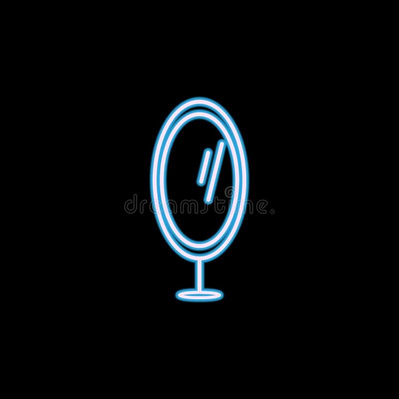 icona dello specchio del piede nello stile al neon Uno dell'icona della raccolta della mobilia può essere usato per UI, UX illustrazione vettoriale