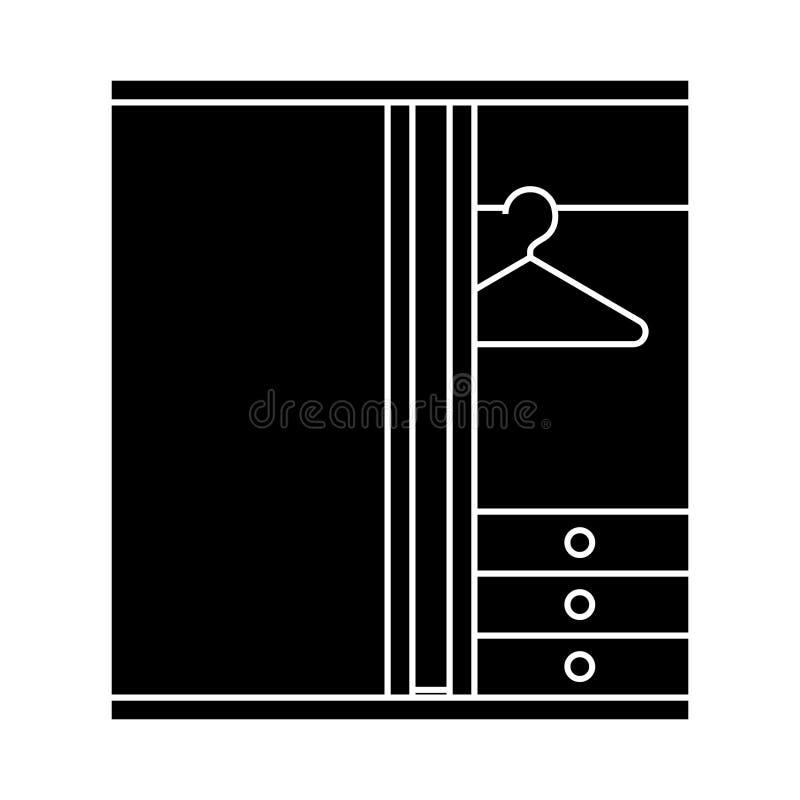 Icona dello spogliatoio, illustrazione di vettore, segno su fondo isolato illustrazione di stock