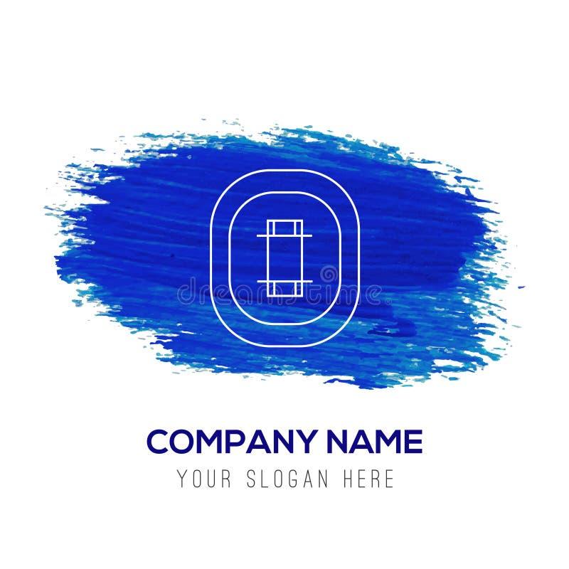 Icona dello stadio del cricket - fondo blu dell'acquerello illustrazione di stock