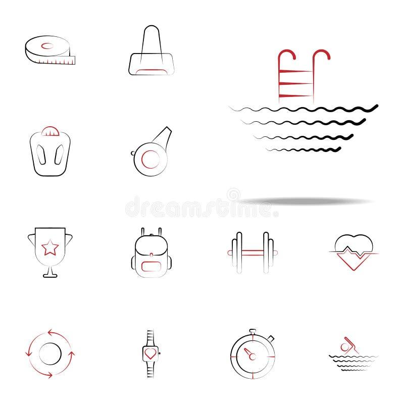 Icona dello stagno Insieme universale delle icone di forma fisica per il web ed il cellulare illustrazione vettoriale