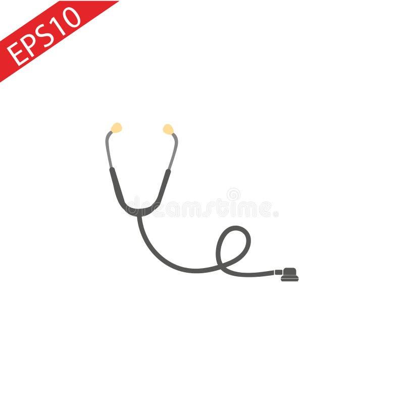 Icona dello stetoscopio nello stile piano d'avanguardia isolata su fondo Icona dello stetoscopio - illustrat medico di vettore di royalty illustrazione gratis