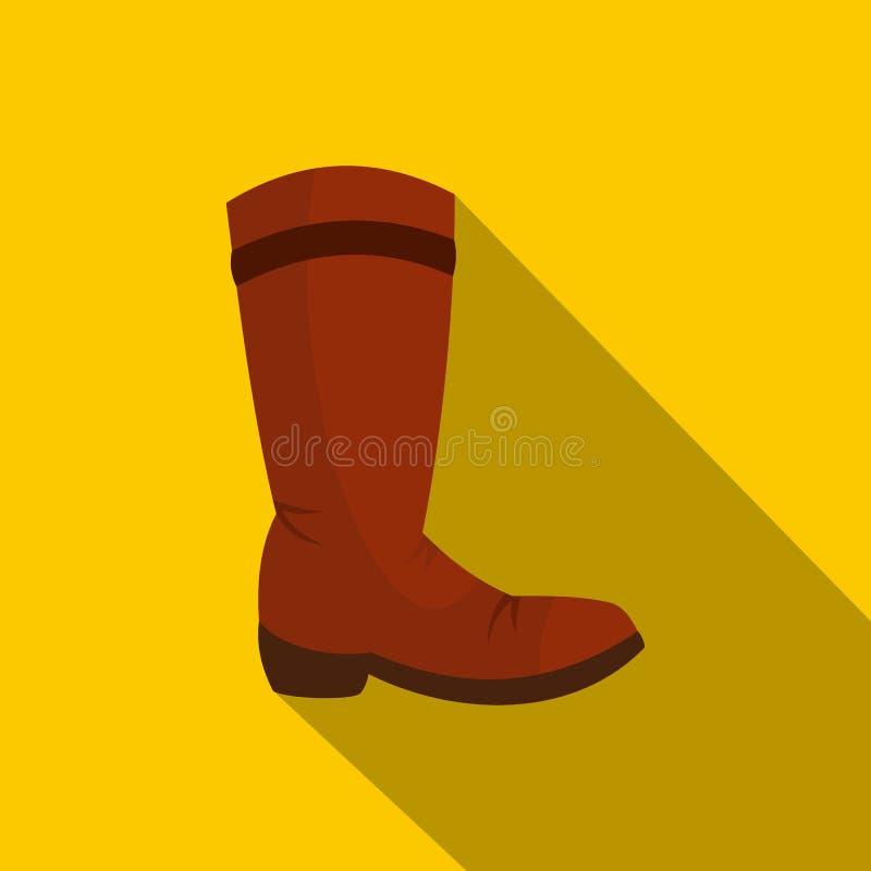 Icona dello stivale di cowboy di Brown, stile piano illustrazione vettoriale