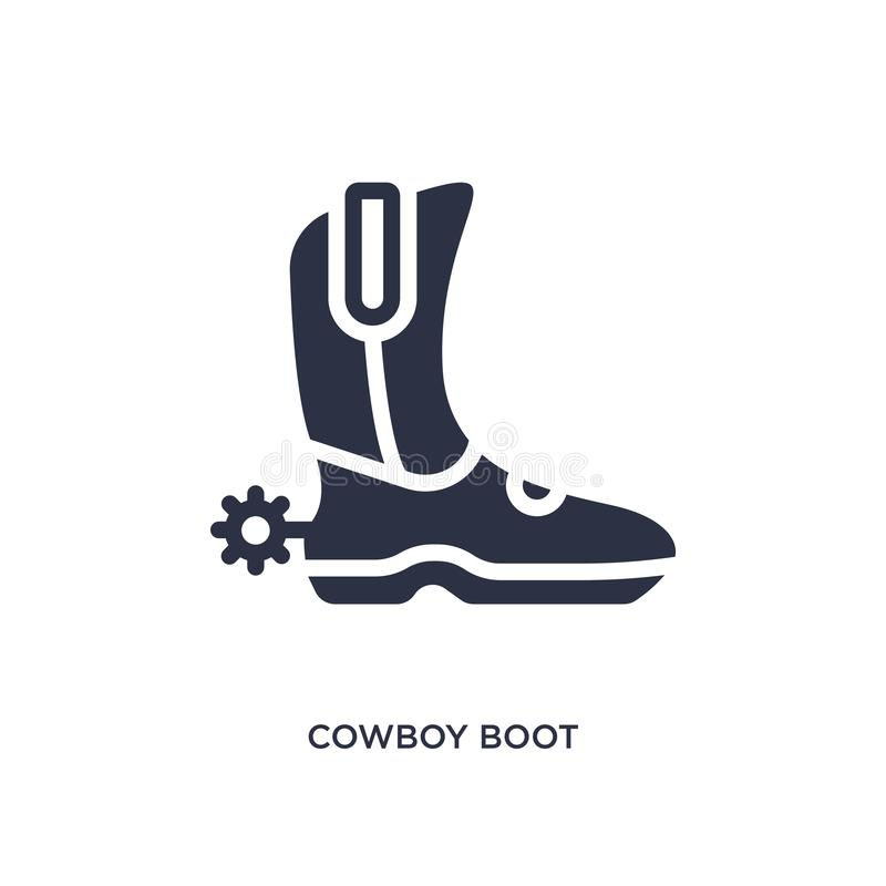icona dello stivale di cowboy su fondo bianco Illustrazione semplice dell'elemento dal concetto del deserto royalty illustrazione gratis