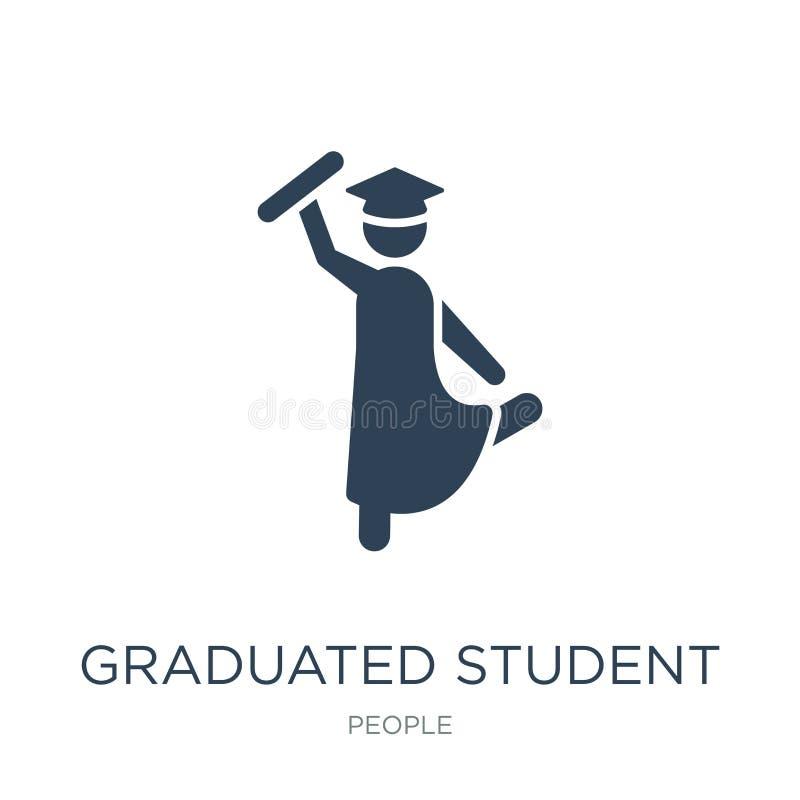 icona dello studente graduato nello stile d'avanguardia di progettazione icona dello studente laureato isolata su fondo bianco ic royalty illustrazione gratis