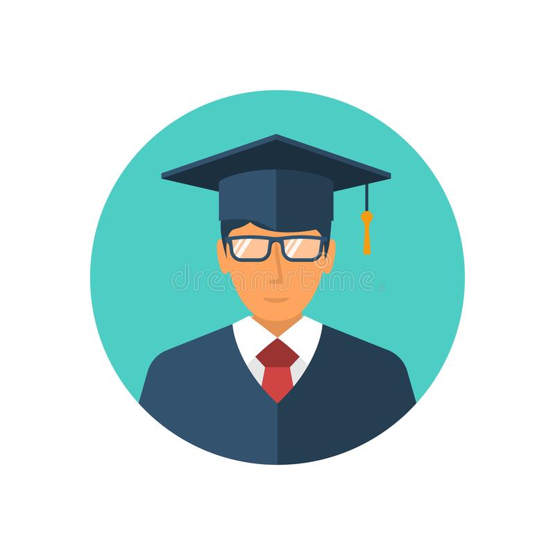 Icona dello studente isolata su un fondo bianco illustrazione vettoriale