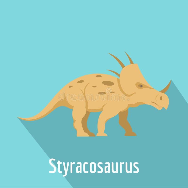 Icona dello Styracosaurus, stile piano illustrazione vettoriale