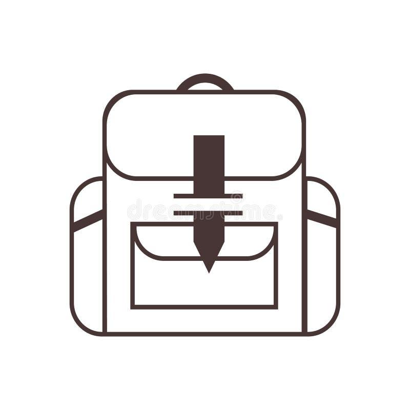 Icona dello zaino Illustrazione del profilo dello zaino illustrazione di stock