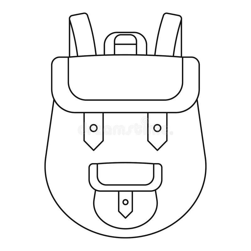 Icona dello zaino, stile del profilo illustrazione vettoriale