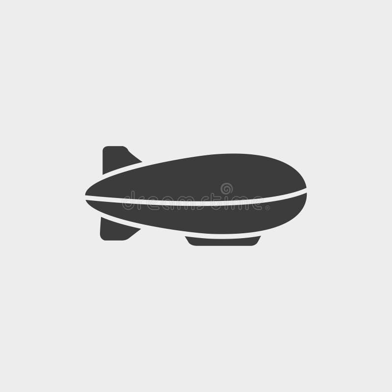 Icona dello zeppelin del dirigibile in una progettazione piana nel colore nero Illustrazione EPS10 di vettore illustrazione vettoriale