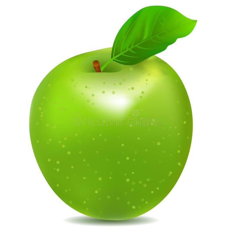 Icona dettagliata di grande mela verde brillante illustrazione di stock