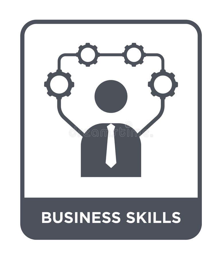 icona di abilità di affari nello stile d'avanguardia di progettazione icona di abilità di affari isolata su fondo bianco icona di illustrazione vettoriale