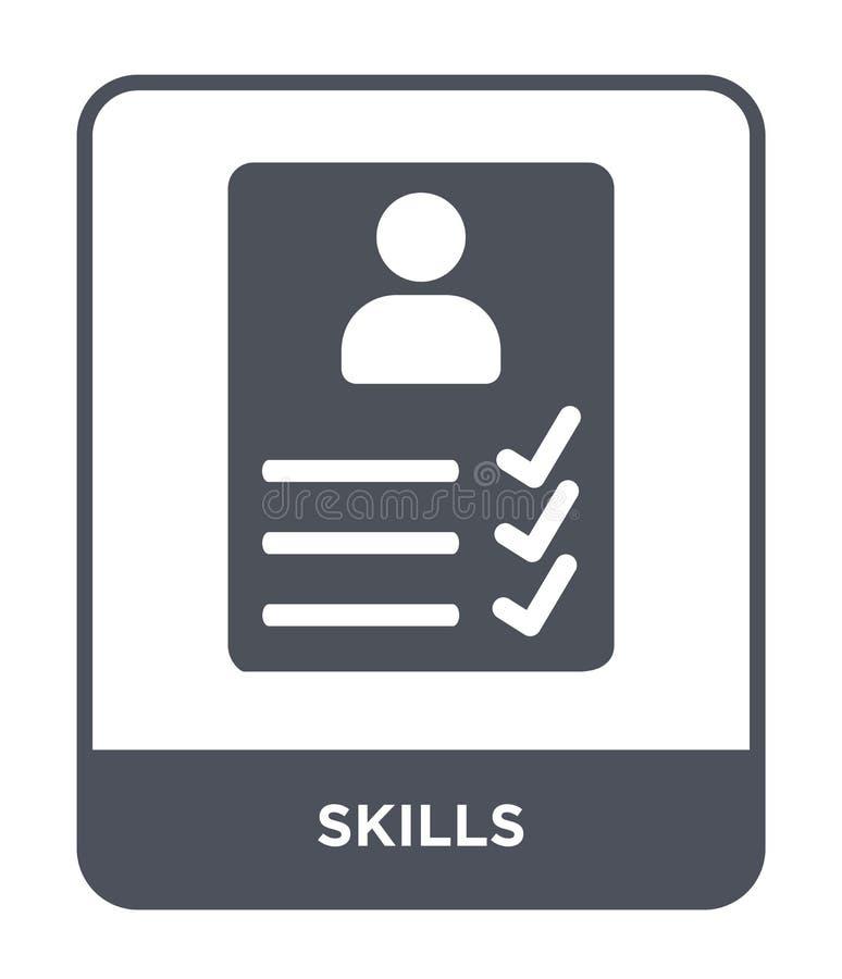 icona di abilità nello stile d'avanguardia di progettazione icona di abilità isolata su fondo bianco simbolo piano semplice e mod illustrazione di stock