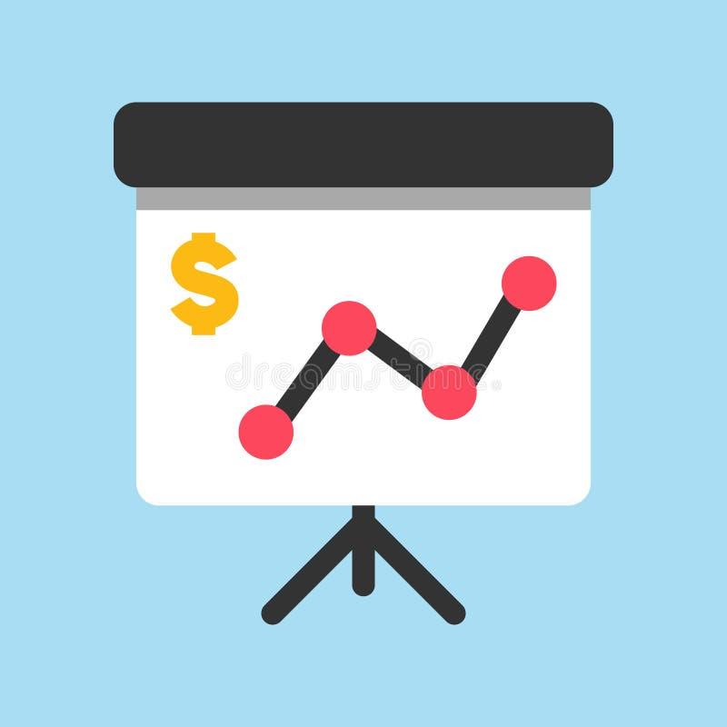 Icona di affari, di attività bancarie e di finanza, bordo di presentazione con il grafico di scambio di tasso analitico illustrazione vettoriale