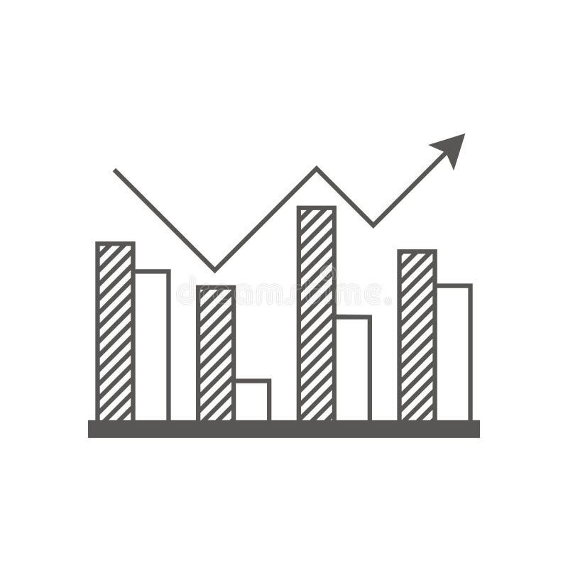 Icona di affari, gestione Icona semplice di vettore di uno schema a blocchi in aumento con una freccia Stile piano illustrazione vettoriale