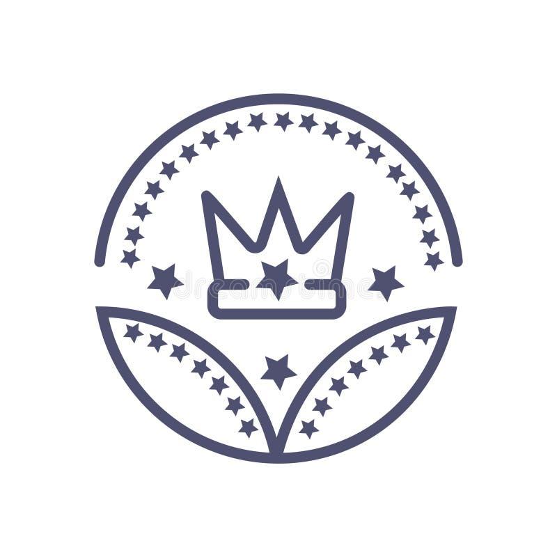 Icona di affari di simbolo del corvo di vettore dell'icona del segno di vettore del premio della corona illustrazione di stock