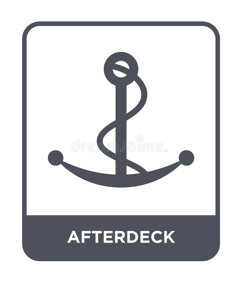 icona di afterdeck nello stile d'avanguardia di progettazione icona di afterdeck isolata su fondo bianco piano semplice e moderno illustrazione vettoriale