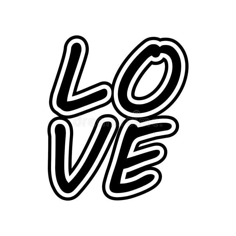 icona di amore del testo Elemento del biglietto di S. Valentino per il concetto e l'icona mobili dei apps di web Glifo, icona pia illustrazione vettoriale
