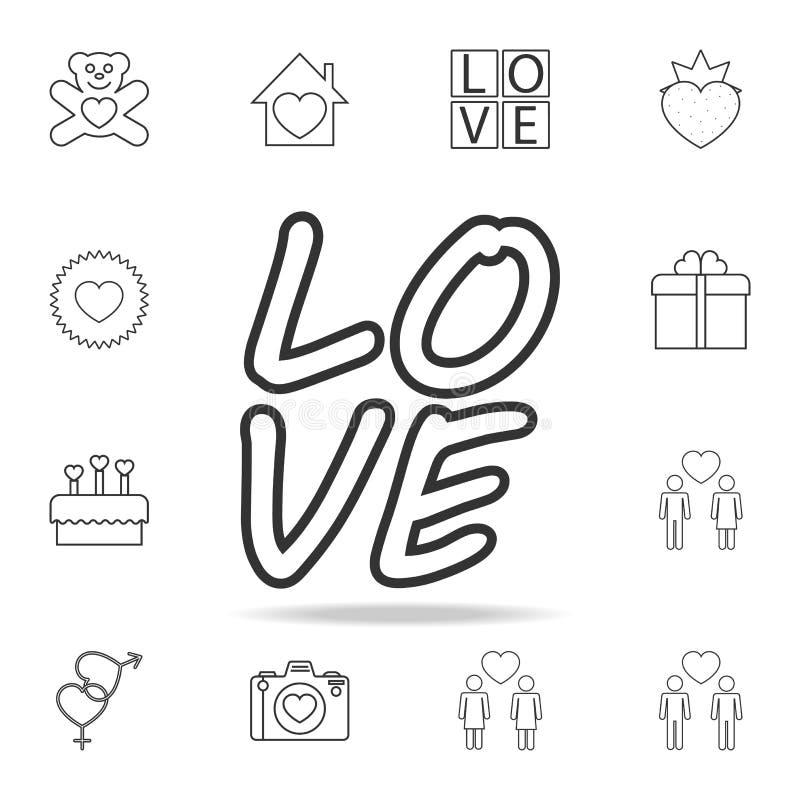 icona di amore del testo Insieme delle icone dell'elemento di amore Progettazione grafica di qualità premio Segni, icona della ra illustrazione di stock