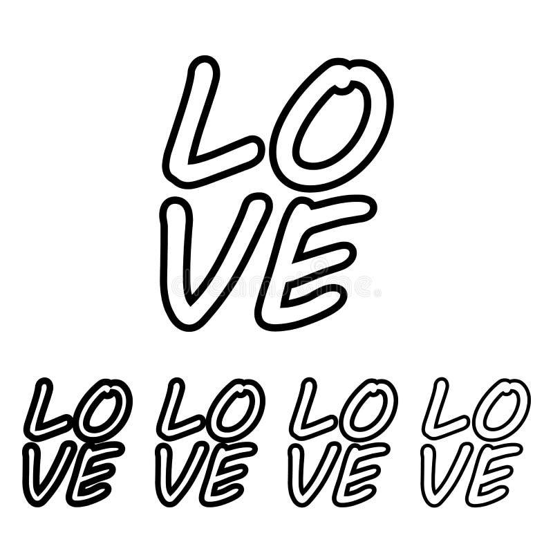 icona di amore del testo nello stile differente di spessore Uno dell'icona della raccolta del biglietto di S. Valentino può esser illustrazione vettoriale
