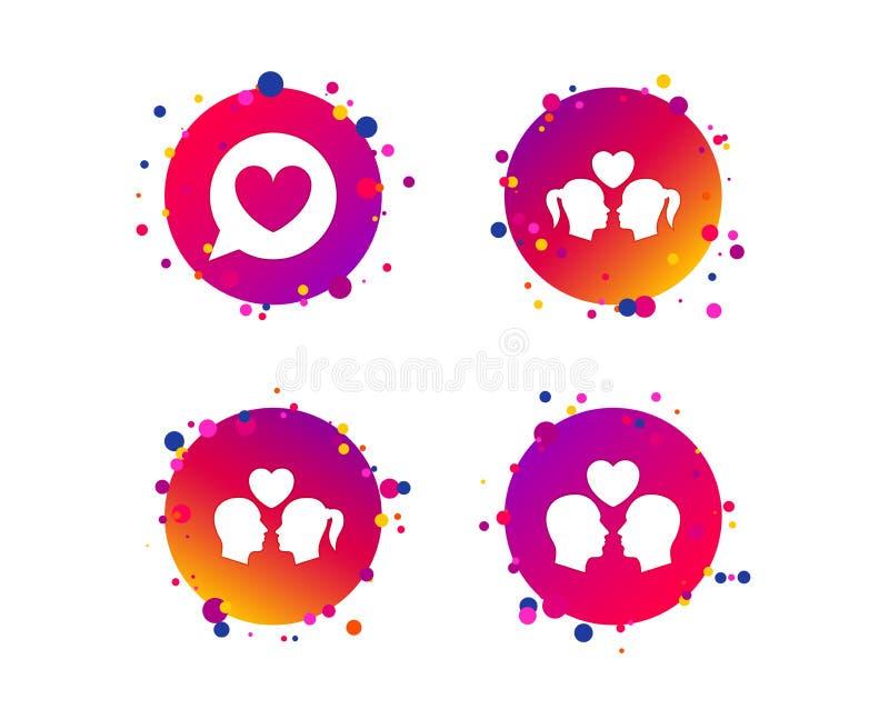 Icona di amore delle coppie Segni lesbici e gay degli amanti Vettore illustrazione vettoriale