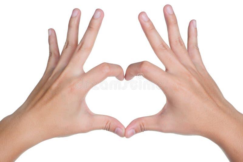Icona di amore di posizione del segno della mano isolata fotografie stock
