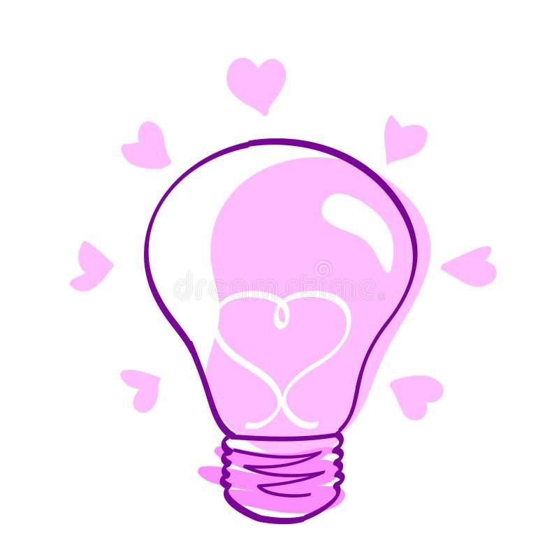 Icona di amore - lampadina vectorial illustrazione di stock